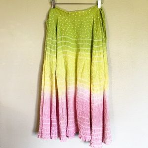 Chaudry | Tie-Waist Maxi Skirt Green Yellow Pink L